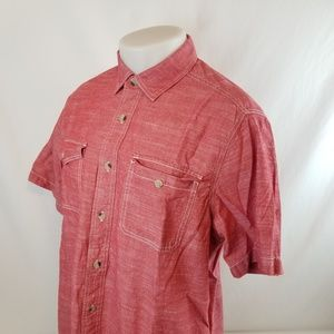Woolrich Mens Button Front Shirt Sz Large S/S Red